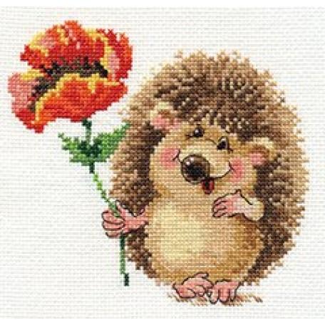 Набор для вышивания арт.Алиса - 0-116 'Ежик с маком' 14х13 см