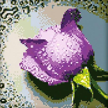 Набор для изготовления картин 'АЛМАЗНАЯ ЖИВОПИСЬ' арт.АЖ.016 'Сиреневая роза' 25х25 см