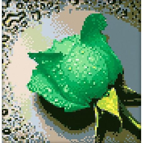 Набор для изготовления картин 'АЛМАЗНАЯ ЖИВОПИСЬ' арт.АЖ.028 'Зеленая роза' 25х25 см
