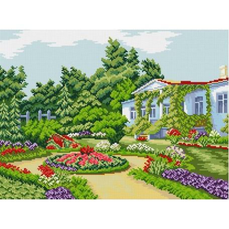 Набор для изготовления картин 'АЛМАЗНАЯ ЖИВОПИСЬ' арт.АЖ.1021 'Летний сад' 54х40 см