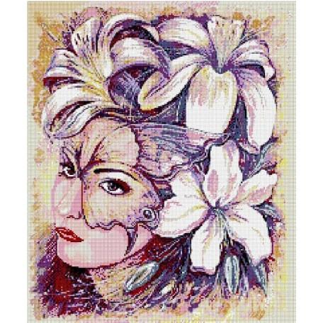 Набор для изготовления картин 'АЛМАЗНАЯ ЖИВОПИСЬ' арт.АЖ.1023 'Девушка в цветах' 51х61 см