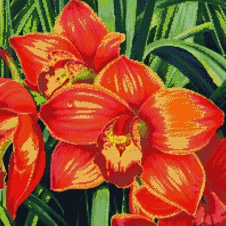 Набор для изготовления картин 'АЛМАЗНАЯ ЖИВОПИСЬ' арт.АЖ.1026 'Красные орхидеи' 51х51 см
