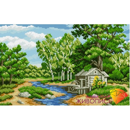 Набор для изготовления картин 'АЛМАЗНАЯ ЖИВОПИСЬ' арт.АЖ.1034 'Лесная река' 46х29 см
