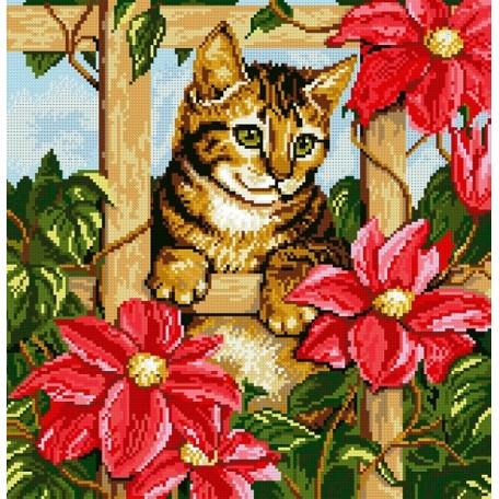 Набор для изготовления картин 'АЛМАЗНАЯ ЖИВОПИСЬ' арт.АЖ.1036 'Котенок в цветах' 42х41 см