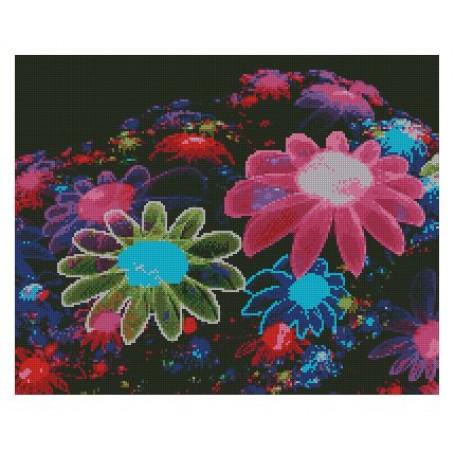 Набор алмазной живописи с подрамником 'Алмазная вышивка' арт.СК-630(П) 'Радужные цветы' 40х50 см
