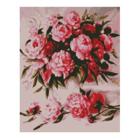 Набор алмазной живописи с подрамником 'Алмазная вышивка' арт.СК-632(П) 'Букет пионов' 40х50 см
