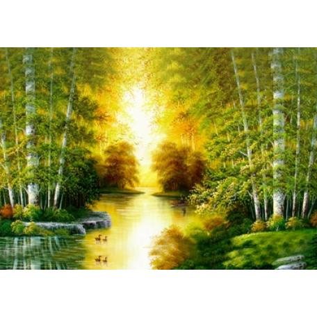 Набор алмазной живописи с подрамником 'Алмазная вышивка' арт.СК-648(П) 'Река в лесу' 40х50 см