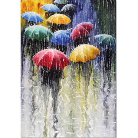 Набор алмазной живописи с подрамником 'Алмазная вышивка' арт.СК-649(П) 'Цветные зонтики' 40х50 см