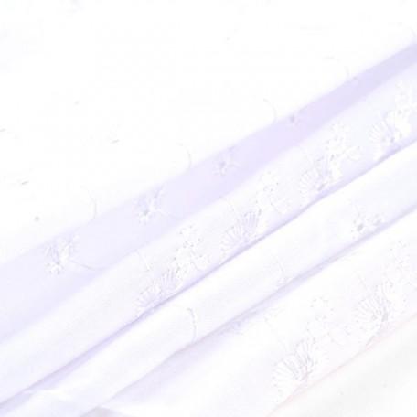 Ткань вышитая арт.10050/6051 цв.белый шир.112см