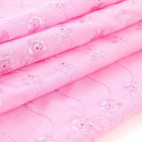 Ткань вышитая арт.10050/6051 цв.розовый шир.112см