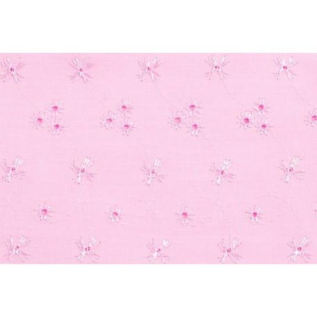 Ткань вышитая арт.10050/6053 цв.розовый шир.112см