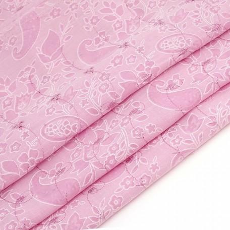 Ткань вышитая арт.750-2 'огурцы' цв.2 (133) розовый шир.150 см упак.22.85 м