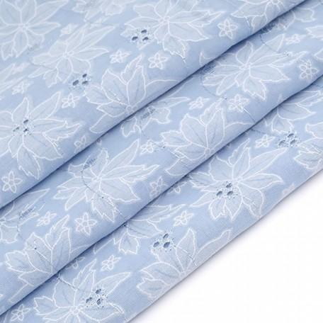 Ткань вышитая арт.750-7 цв.3 (178) голубой шир.150см