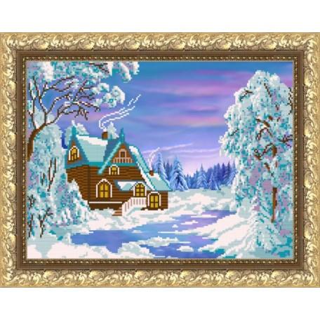 Наборы для вышивания бисером Арт Соло арт. NK-3014 'Зимний домик' 29х38