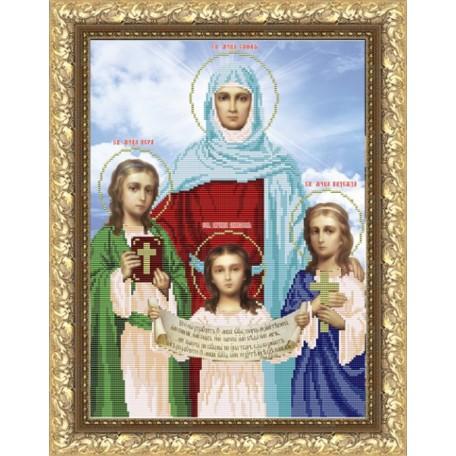 Рисунок на ткани арт. VIA3001 Вера, Надежда, Любовь и мать их София 28х31 см