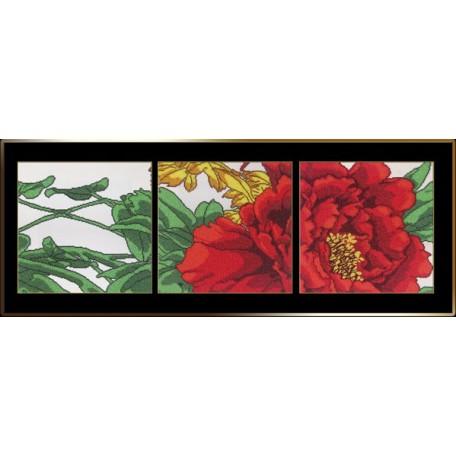 Набор для вышивания бисером 'Астрея Арт' арт.АСТ.00302 Красный цветок 3 по 30х30 см