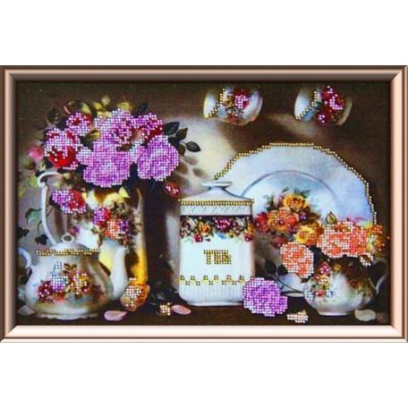 Набор для вышивания бисером 'Астрея Арт' арт.АСТ.50067 Чайный сервиз 20х30см
