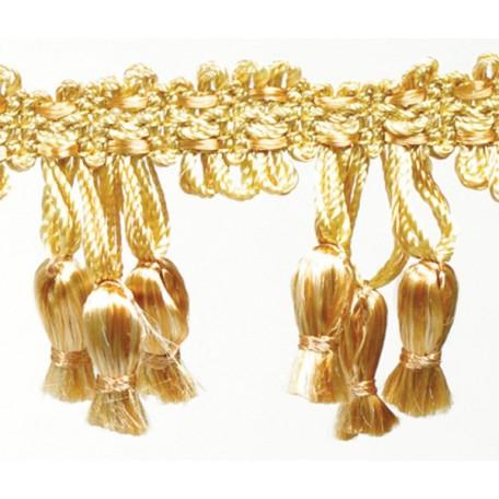Бахрома 'колокольчики' арт.TBY-L881248 шир.5см цв. 14 золотистый уп.25м