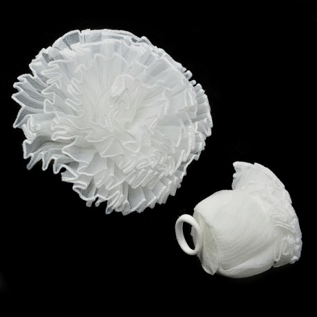 Бант арт.AVB02 на резинке цв. белый уп.12 шт