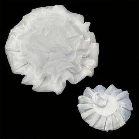Бант арт.AVB06 на резинке цв. белый, диметр 11 см уп.12 шт