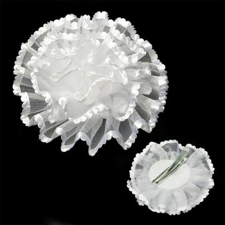 Бант арт.AVB09 на заколке цв. белый, диметр 11 см уп.12 шт