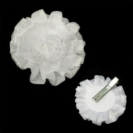Бант арт.AVB11 на заколке цв. белый, диметр 7 см уп.12 шт
