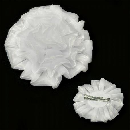 Бант для волос арт.AVB07 на заколке цв. белый, диметр 11 см уп.12 шт