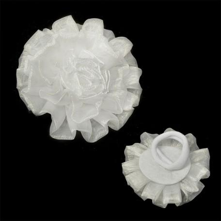 Бант для волос арт.AVB10 на резинке цв. белый, диметр 7 см уп.12 шт