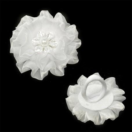 Бант для волос арт.AVB12 на резинке со вставкой цв. белый, диметр 6,5 см уп.12 шт