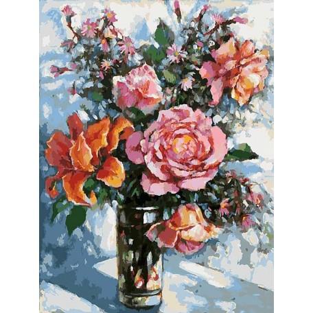 Картины по номерам Белоснежка арт.БЛ.001-AS Натюрморт с розами 30х40 см
