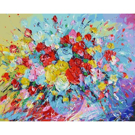 Картины по номерам Белоснежка арт.БЛ.001-АВ Фейерверк из роз 40х50 см