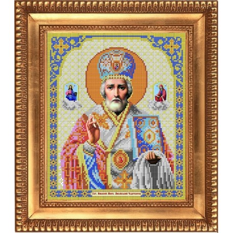 Рисунок на ткани бисером БЛАГОВЕСТ арт.И-4003 Николай Чудотворец 20х25 см