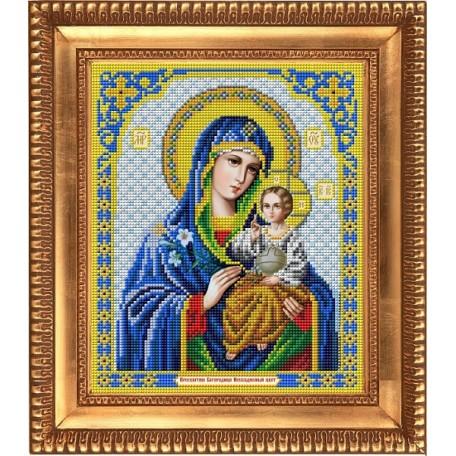 Рисунок на ткани бисером БЛАГОВЕСТ арт.И-4012 Пресвятая Богородица Неувядаемый цвет 20х25 см