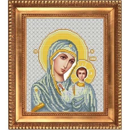 Рисунок на ткани бисером БЛАГОВЕСТ арт.И-4013 Казанская Божия Матерь в белом одеянии 20х25 см