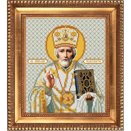 Рисунок на ткани бисером БЛАГОВЕСТ арт.И-4015 Святой Николай Чудотворец в белом одеянии 20х25 см