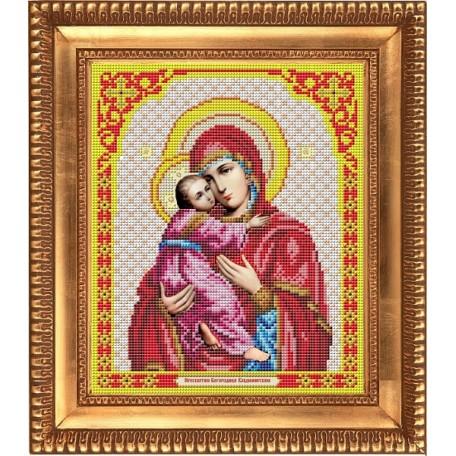 Рисунок на ткани бисером БЛАГОВЕСТ арт.И-4017 Богородица Владимирская 20х25 см
