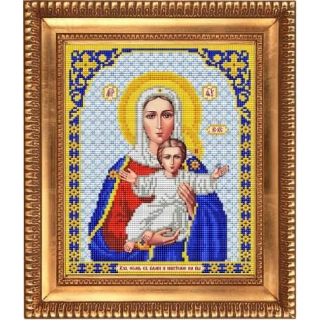 Рисунок на ткани бисером БЛАГОВЕСТ арт.И-4019 Богородица Леушинская. Аз есмь с вами и никтоже на вы 20х25 см