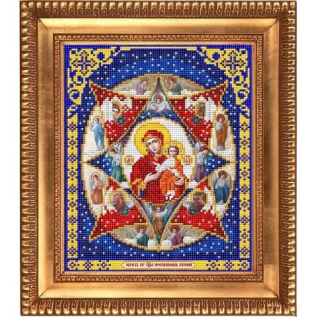 Рисунок на ткани бисером БЛАГОВЕСТ арт.И-4025 Пресвятая Богородица Неопалимая Купина 20х25 см