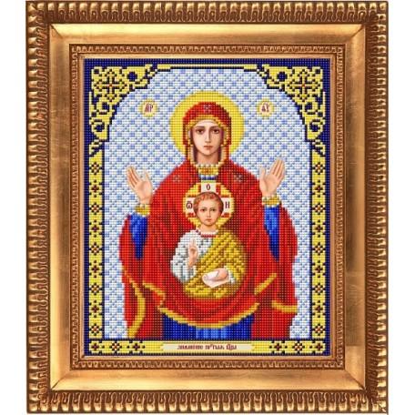 Рисунок на ткани бисером БЛАГОВЕСТ арт.И-4026 Пресвятая Богородица Знамение 20х25 см