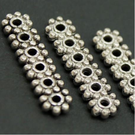 Бусины-разделители арт. МБ.УТ1206 цв.ант.серебро 20х5 мм 10шт.