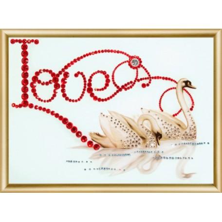 Набор 'ЧМ' арт. КС-003 для изготовления картины со стразами 'Лебединая верность' 22,9х16,9 см