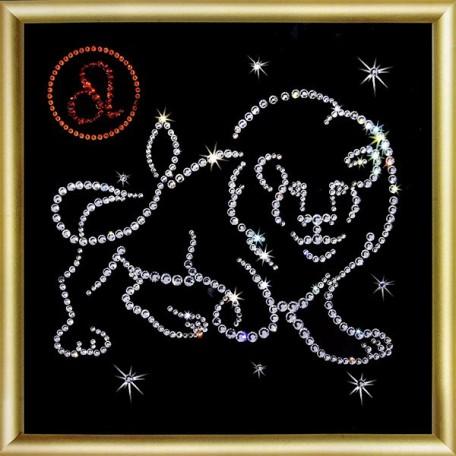 Набор 'ЧМ' арт. КС-015 для изготовления картины со стразами 'Лев' 14,6х14,6 см