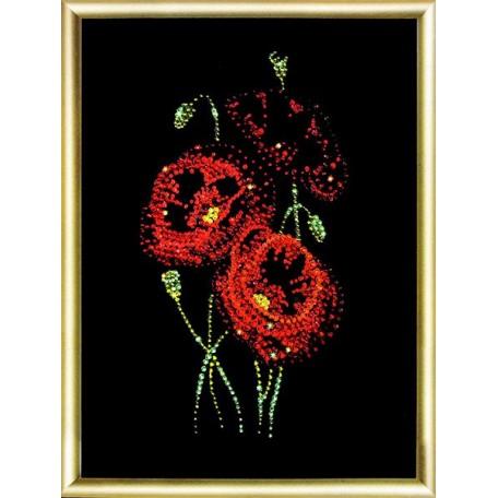 Набор 'ЧМ' арт. КС-022 для изготовления картины со стразами 'Маки' 16,9х22,9 см