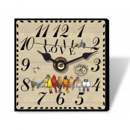 EN.35846 Часы настольные 'Влюбленные птички' кварцевые с циферблатом из МДФ без эл.питания 10х10х4,5