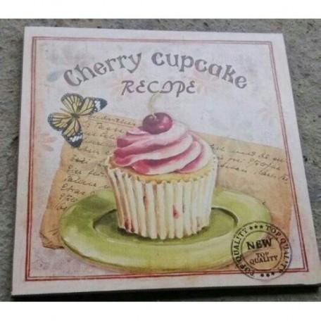 EN.36007 Картина-репродукция 'Вишневый десерт' (печать на бумаге, основа из МДФ, без рамки) 30х30см