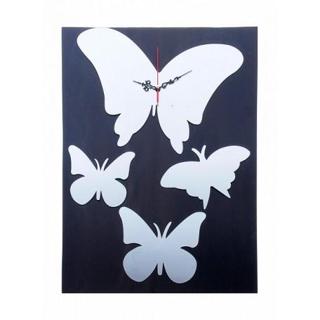 СЛ.155437 Часы-наклейка, Бабочки хром (многоразового использования) 60х45 см