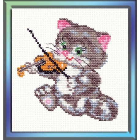 Набор для вышивания арт.ЧИ-15-06 (Д-043) СР 'Котёнок-музыкант' 11х11см