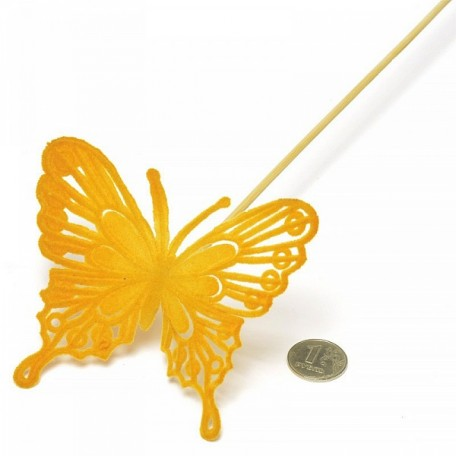 Бабочка барокко на вставке арт.ZA.93135087 8х50см цв.оранжевый