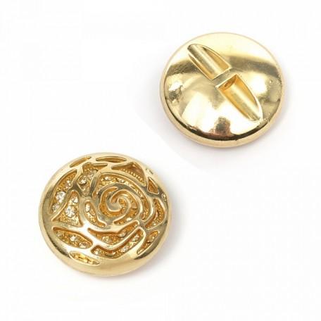 Пуговица пришивная 'Роза' цв.01 золото 38 мм А