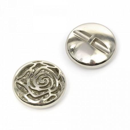 Пуговица пришивная 'Роза' цв.02 никель 38 мм А